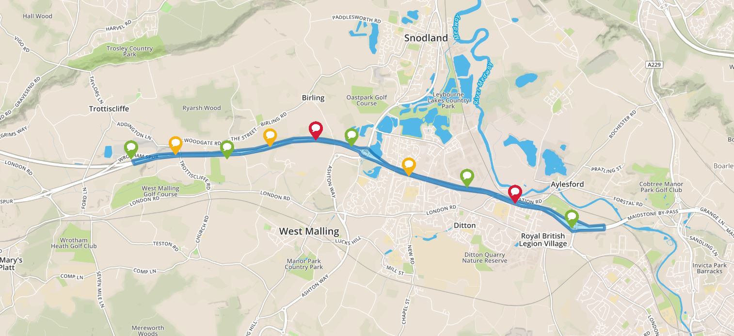 Preview image of interactive map for the M20 Junctions 3 to 5