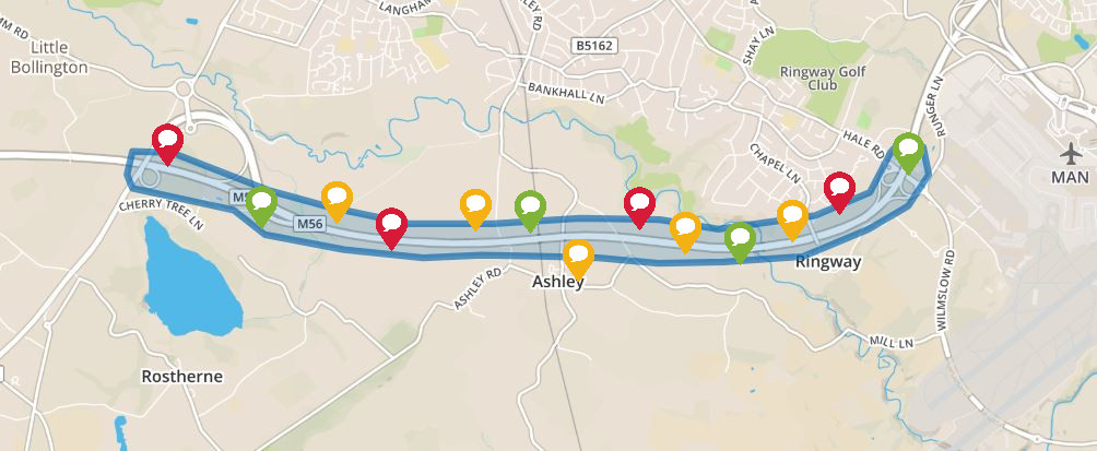 Preview image of interactive map for m56 J6 to 8 smart motorway