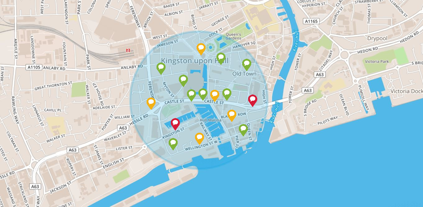 Preview image of interactive map for what you would like to see improved at the Princes Quay Bridge area